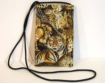 Cell phone purse - Wallet on a string - Travel bag - Mini purse - Phone purse - Animal print - Neck pouch - Phone pouch - Cell phone case