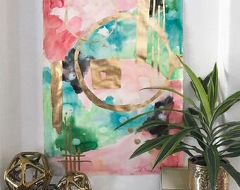 Large Original Abstract Watercolor Painting, Pink and Green Original Abstract Painting, Large Wall Art, Wall Decor