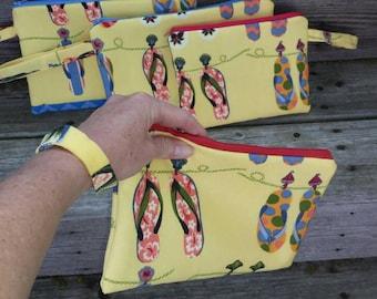 Flip flop zipper bag pouch wristlet accessory bag cell phone eyeglasses
