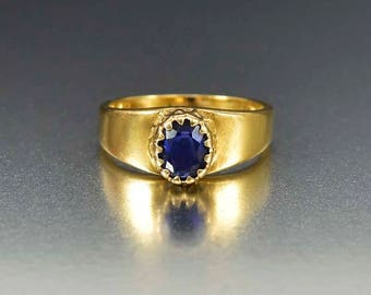 Victorian 18K Gold Sapphire Ring | 1 ct Natural Sapphire Engagement Ring | Wide Band Antique Ring | Antique Sapphire Solitaire Ring