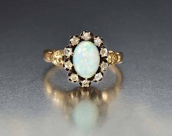 Antique Gold Opal Ring | 10K Gold Diamond Halo Ring | Alternative Opal Engagement Ring | Antique Edwardian Opal Ring | Opal Diamond Ring
