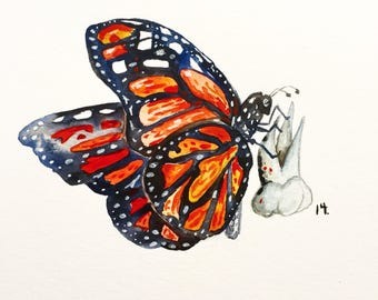 """Butterfly Tooth, Watercolor Painting, Dentist Art, Tooth Painting, Original Watercolor 11""""x17"""", Gritty art"""