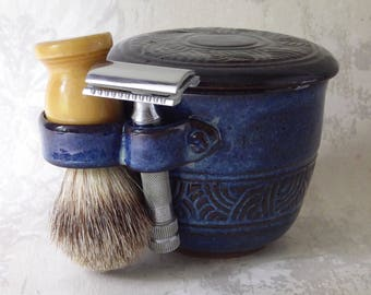 Hand Carved Lidded Shaving Mug in Denim Blue