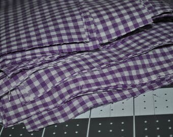 100 pack of 5 Inch Purple Gingham Squares Poly Cotton Blend Quilting Scraps
