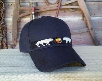 Native Beaded Baseball Cap. Beaded hat. Spirit Wolf design. Wolf. Medicine Wheel.