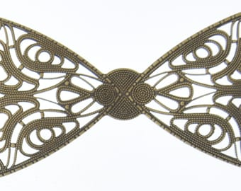 Brass stamping bow 75x40mm(3x1.6in) Antiqued brass Filigree Bow, pk/2 04224AG