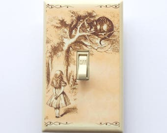 5.00 Line of Alice switchplates- Alice in Wonderland nursery decorations Alice rocker plate Alice art Decora plate CGFI switch sepia Alice