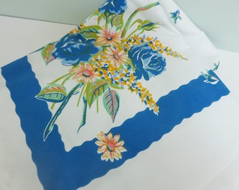 Vintage Tablecloth with Flowers, Blue Roses, Daisies and Snap Dragons in Yellow, Pink and Jadeite Green