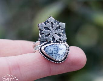 Sterling silver snowflake and Dendrite Opal ring  - Softly Falling -