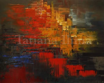 Abstract fine art giclee print on CANVAS of original painting EXCELLENT INTENTIO home decor by Tatiana Iliina