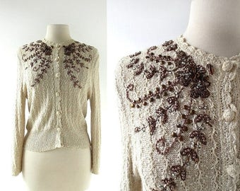 20% off sale Vintage Beaded Cardigan | Copper Bower | 1950s Sweater | S M