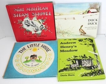 Children's Books Lot of 4, Vintage 1960s Weekly Reader Editions, Duck, Mike Mulligan's Steam Shovel, Little House, Andrew Henry's Meadow