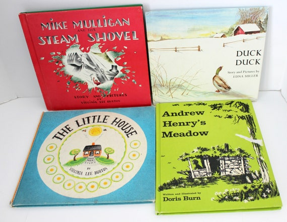 Vintage Children's Books Lot of 4, 1960s Weekly Reader Editions, Duck, Mike Mulligan's Steam Shovel, Little House, Andrew Henry's Meadow
