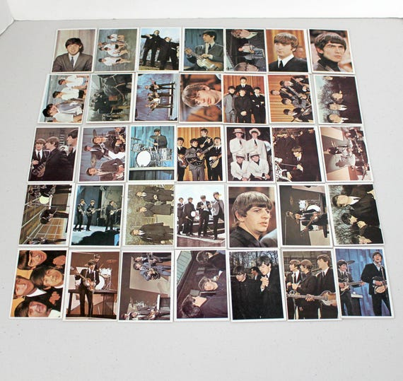 35 Vintage Beatles Color Topps Bubble Gum Cards, 1960s TCG