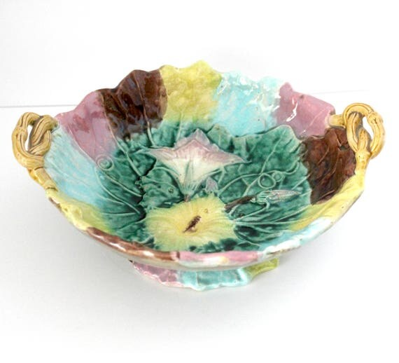 Antique Majolica Bowl, Vintage Footed Handled Bowl with Morning Glory Flowers, Colorful Morning Glories, Turquoise Blue, Yellow, Green