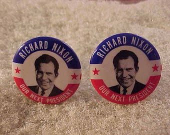 Political Cuff Links Richard Nixon Vintage Campaign Button - Free Shipping to USA