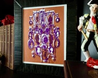CAMEOS #110   mod Victorian silhouettes in copper and purple screenprint (8x10)