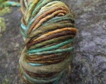 Handspun yarn, handpainted Polwarth wool yarn, worsted weight thick and thin hobbit yarn-Shire