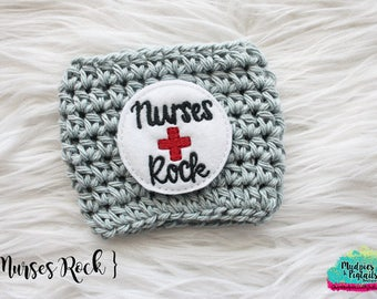 Nurse Coffee cup cozy { Nurses Rock } medical, nursing student, school coffee sleeve, birthday gift, stocking stuffer, mug starbucks crochet