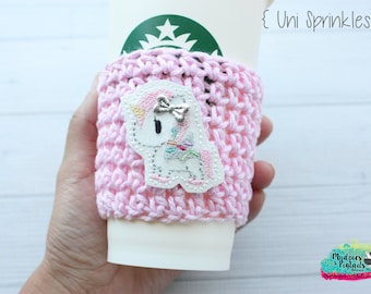 Pink Glitter Cup Cozy { Unicorn Sprinkles } Unicorn Horn, cupcake, rainbow pastel, crochet Coffee cup sleeve,  starbucks plastic cups