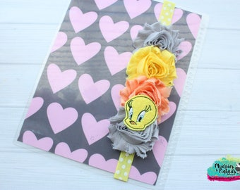 Planner band { Tweety } yellow bird, looney tunes, sylvester, glitter, pastel, spring band girl accessories bible band, baby headband