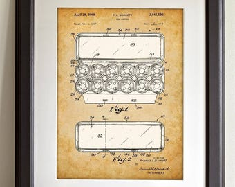 Egg Carton - 11x14 Unframed Patent Print - Great for Country Decor