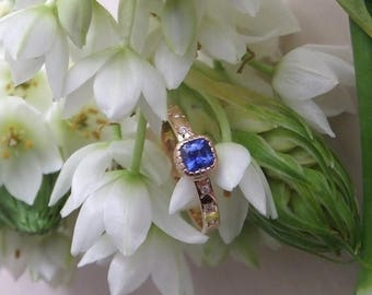 "ON SALE, 5% OFF Blue Sapphire and Diamond Ring, ""Etoile,"" Ooak Engagement or Right Hand Ring, Ready to Ship"
