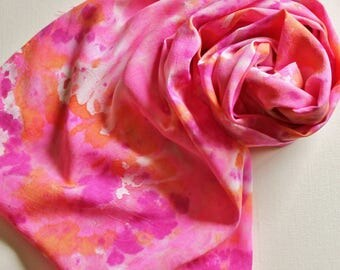 Infinity Scarf - Hand Painted Circle Scarves Tie Dyed Hot Pink Fuchsia Neon Magenta Berry Orange White Bright Breast Cancer