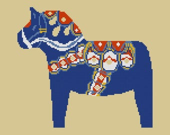 Needlepoint kit DALA HORSE -cross stitch kit,embroidery kit,cross stitch,needlepoint pillow,anette eriksson,needlepoint,scandinavian,swedish
