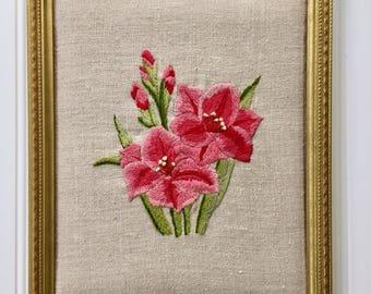 Vintage Framed Pink Lilies Crewel Wall Art, Midcentury Vintage Embroidery Wall Hanging, Vintage Lilies Needlework
