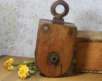 Antique WOODEN BLOCK & Tackle Primitive Wood Pulley- Swivel Iron Farmhouse Decor- Industrial Rustic Design
