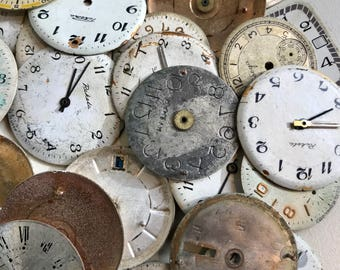 Vintage WATCH Faces (10) Steampunk Jewelry Supply- Watch Face- Mixed Media Supply- Altered Art Supply- Clock Parts- B10