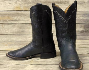 Vintage Cowboy Boots Teners Womens Black Leather Size 7 B Ladies Cowgirl Ropers
