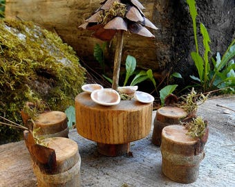 fairy furniture patio set wood table 4 chairs miniature fairy house accessories