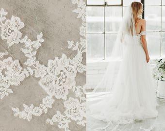 Bridal Wedding Veil, Lace Veil Scattered Swarovski Crystals, Tulle Lace Veil, Lace Applique Veil, Cathedral Veil, Single Layer Veil #1501