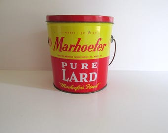 Vintage Marhoefer Lard Pail 4 lb Size Can with Wire Bail Handle Red Yellow Tin Muncie Indiana Farmhouse Kitchen