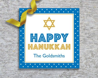 Personalized Hanukkah Gift Tags or Stickers – DIY Printable – Modern Dots (Digital File)