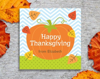 Personalized Thanksgiving Gift Tags or Stickers – DIYPrintable – Pumpkin (Digital File)