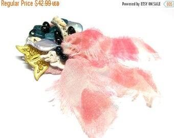 On Sale Pink Brooch Feminine Brooch Assemblage Pin Seashell Brooch Multi Media Wearable Art Gifts for Women Top Selling Jewelry Assemblage J