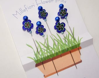 Millefiori Flower Pins - Decorative Straight Pins - Blue Flower Pins - Gift for Quilter - Pincushion Pins  -  Girlfriend Gift -  Beaded Pins