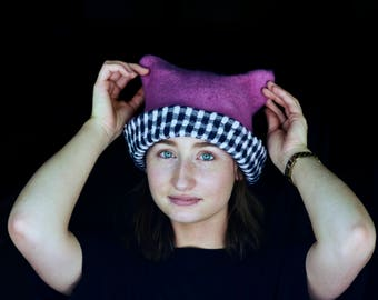 Pink Pussy Cat Hat, Feminist Hat Pink Pussy Hat, Felt Pussycat Hat,Women's Rights Hat,Pink Cat Hat, Women's March Hat