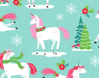 Christmas Unicorn Fabric - I believe in christmas By Lizmytinger - Holiday Unicorn Winter Fantasy Cotton Fabric By The Yard With Spoonflower