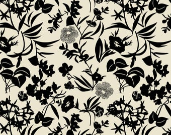 Tropical Blooms Fabric - Tropical Blooms - Black/Sand By Cinneworthington - Tropical Black + Cream Botanical Fabric With Spoonflower