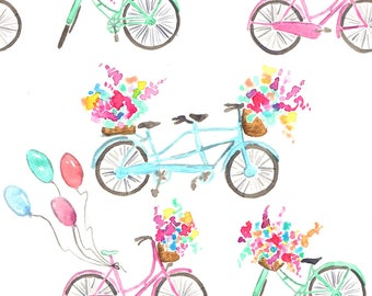 Watercolor Bicycle Fabric - Bikes By Erinanne - Floral Summer Bicycle Nursery Decor Cotton Fabric By The Yard With Spoonflower