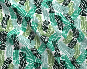 Green Tropical Fabric - Palm Print Tropical Palm Tree Leaves Summer By Charlotte Winter - Cotton Fabric By The Yard With Spoonflower