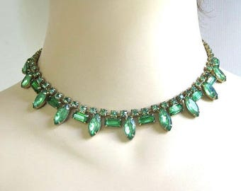 Green Rhinestone Choker Necklace Vintage 1950s