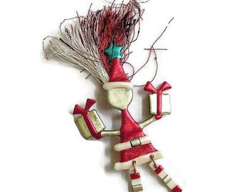 SALE Holiday Brooch Red, Green, Gold & White Artisan Modern Santa Clause and Presents Vintage
