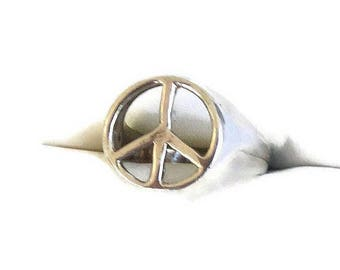 SALE Sterling Silver Peace Sign Ring Vintage Size 8 Artisan Made Hippie Boho