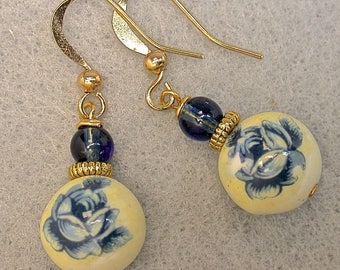 Vintage Japanese Tensha Bead Blue Rose Earrings, Vintage Blue Glass Beads, Gold Filled French Ear Wires - GIFT WRAPPED