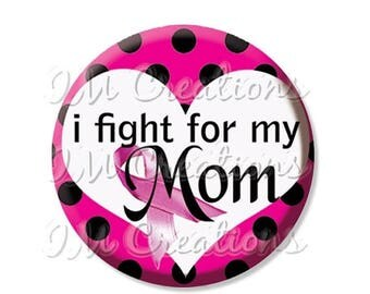 """25% OFF - Breast Cancer Awareness Fight - Pocket Mirror, Magnet or Pinback Button - Fundraiser, Events, Favors, Gifts - 2.25"""" - MR136"""